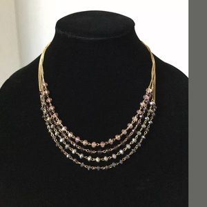 cAKe Silver Chain Necklace  Crystal Beads